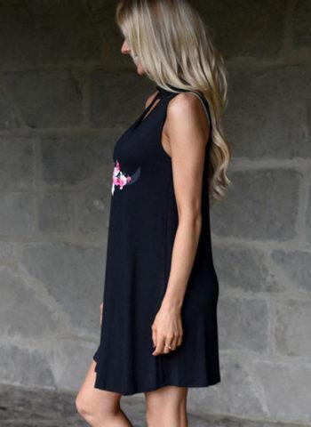 Summer Sleeveless Knee Length Little Black Floral Dress