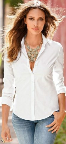 Hualong Button Up Long Sleeve Womens Collared Shirt