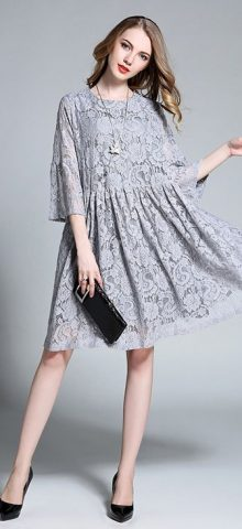 Hualong Elegant Hollow Knee Length Plus Size Lace Dress