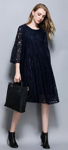 Hualong Elegant Hollow Knee Length Plus Size Lace Dress - Online ...