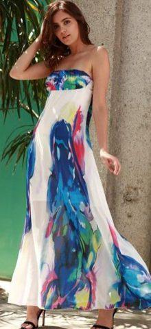 Hualong Elegant Off Shoulder Floral Print Maxi Dress