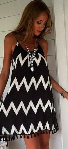 Hualong Halter White and Black Stripe Bathing Suit Cover Ups