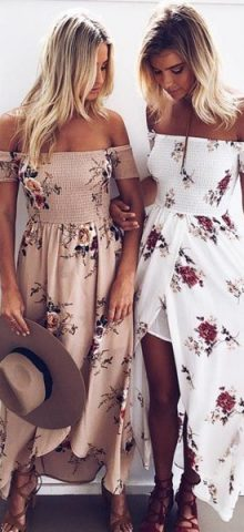 Hualong Summer Off The Shoulder Floral Beach Maxi Dress
