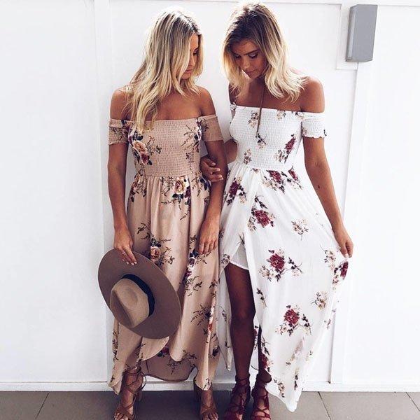 Hualong Summer Off The Shoulder Floral Beach Maxi Dress