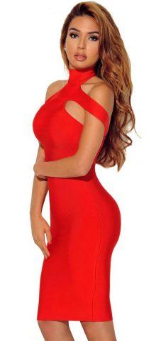 Hualong Women Sexy Cut Out Red Bodycon Dress