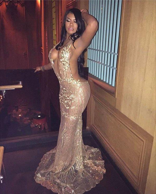 Hualong Backless Deep V Halter Sequin Maxi Dress