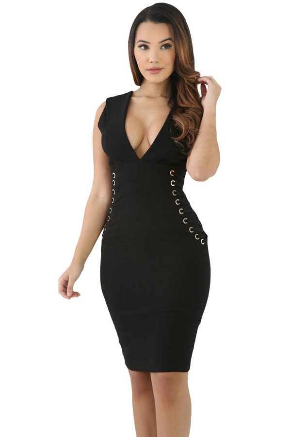 401694050db3 Hualong Black Lace Up V Neck Velvet Bodycon Dress - Online Store for ...