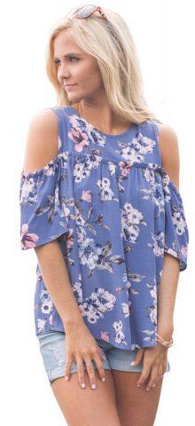 Hualong Blue Flora Plus Size Cold Shoulder Tops