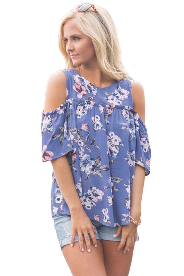 28b06a806c2 Hualong Blue Flora Plus Size Cold Shoulder Tops - Online Store for ...