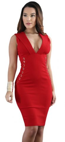 Hualong Deep V Neck Midi Red Bodycon Dress