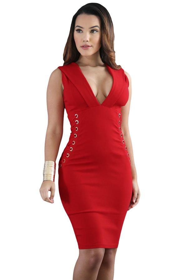 fc9d8489f Hualong Deep V Neck Midi Red Bodycon Dress - Online Store for Women ...