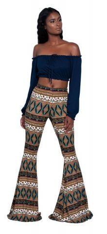 Hualong Fashion Printed High Waisted Flare Pants