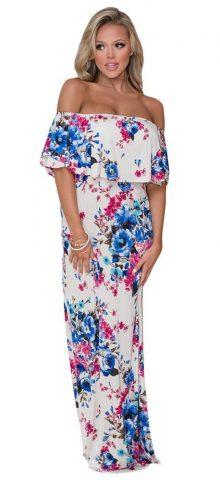 Hualong Flora Off The Shoulder Bohemian Prom Dresses
