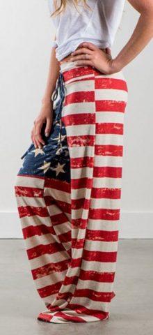 Hualong Long Plus Size American Flag Pants