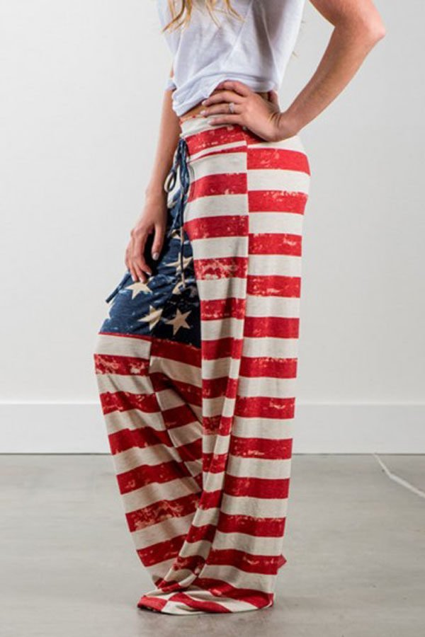 Hualong Long Plus Size American Flag Pants - Online Store for Women ...