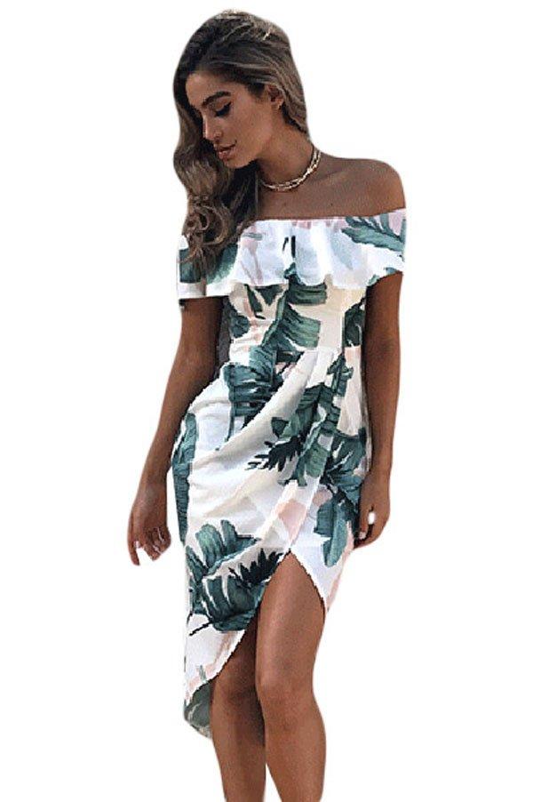 hualong off the shoulder flower print short formal dresses