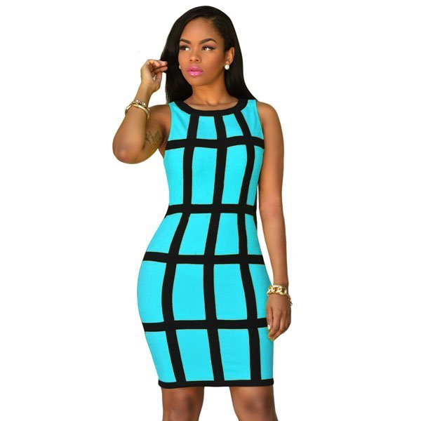 8e806f8c13da Hualong Sleeveless Midi Plaid Bodycon Dress (4) - Online Store for ...