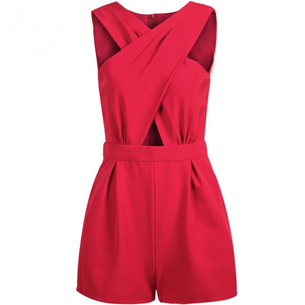 Hualong Sumer Front cross Red Fancy Rompers