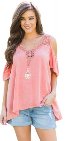 Hualong V Neck Ladies Cold Shoulder Tops