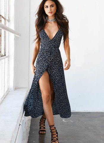Hualong V Neck Sleeveless Maxi Floral Wrap Dress
