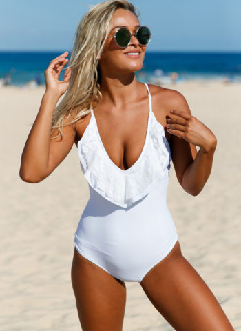 Hualong White Halter One Piece Ruffle Swimsuit