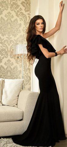Hualong Elegant Ruffle One Shoulder Black Evening Gowns