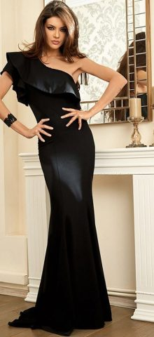 Hualong Elegant Ruffle One Shoulder Black Evening Gowns