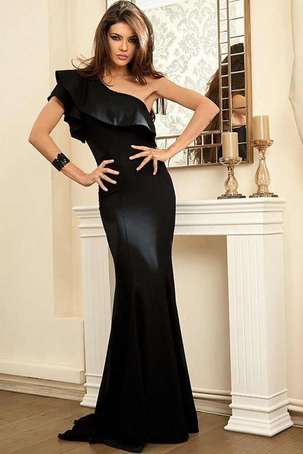 Hualong Elegant Ruffle One Shoulder Black Evening Gowns ...One Shoulder Black Prom Dresses