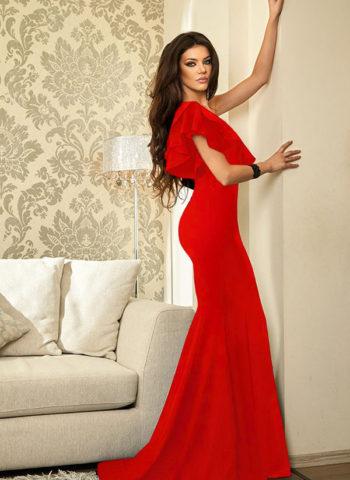 Hualong Elegant Ruffle One Shoulder Red Mermaid Dress