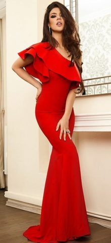 Hualong Elegant Ruffle One Shoulder Red Mermaid Dress