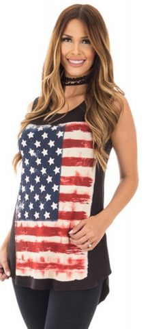 Hualong Loose Women American Flag Tank Top