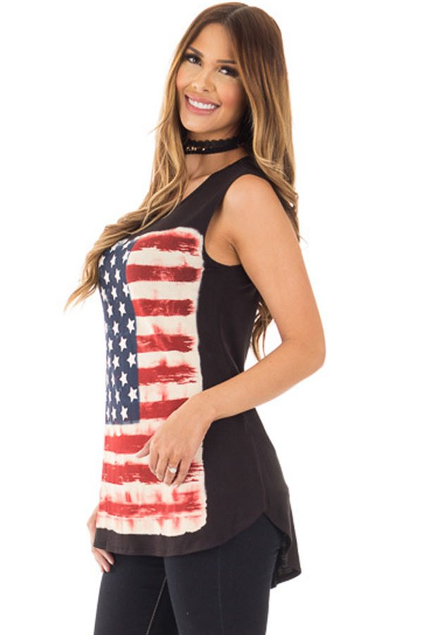 Hualong Loose Women American Flag Tank Top