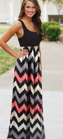 Hualong Round Neck Sleeveless Striped Maxi Dress