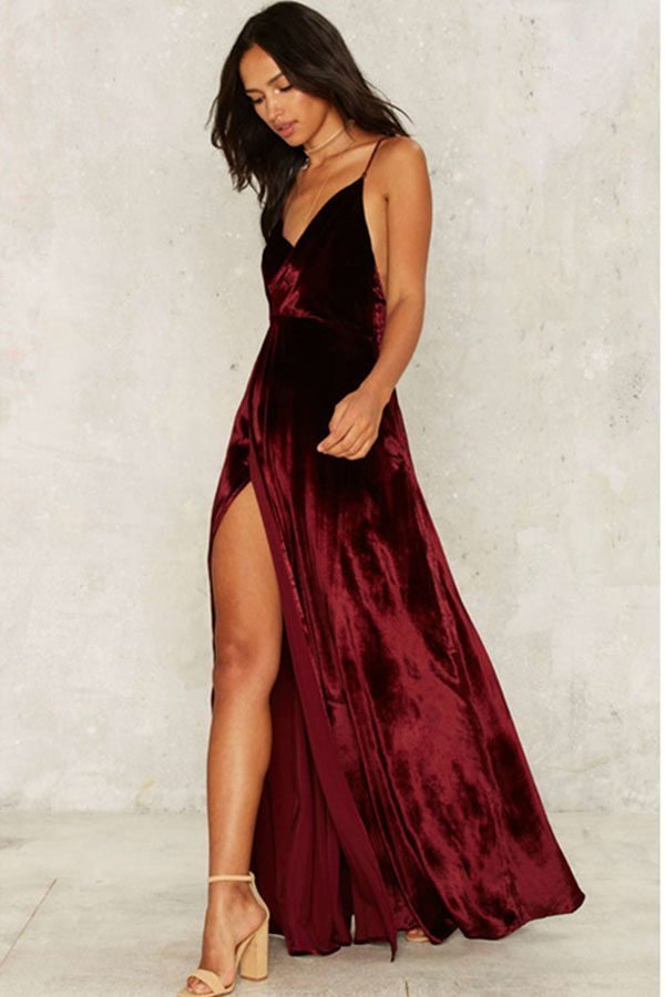 dd530f7e77 Hualong Sexy Deep V Stap Split Maxi Dress - Online Store for Women ...