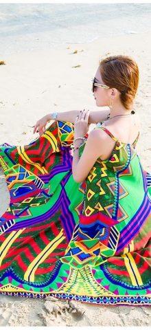 Hualong Strap Sleeveless Chiffon Beach Party Dresses