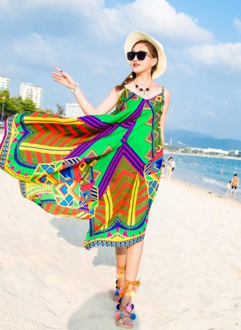 Hualong Strap Sleeveless Chiffon Beach Party Dresses