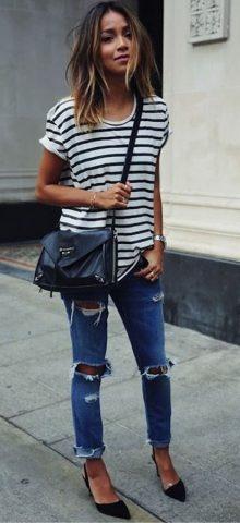 Hualong Summer Women Black And White Striped Shirt