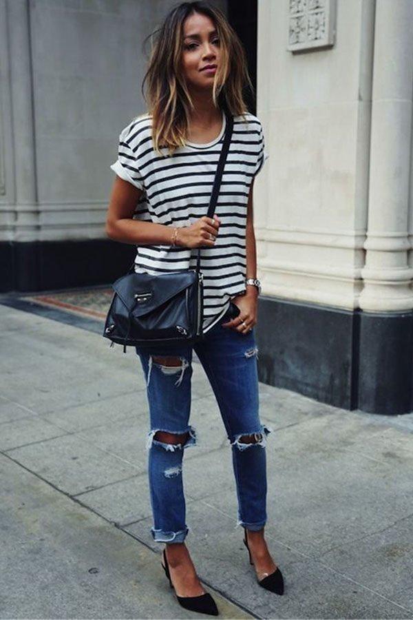 3f9d08ac Hualong Summer Women Black And White Striped Shirt - Online Store ...