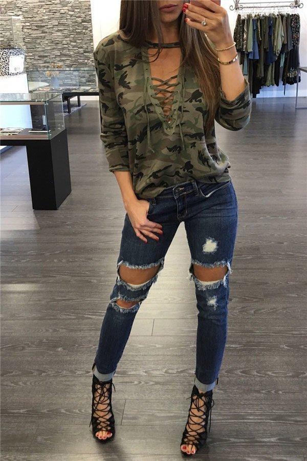 ualong Deep V Lace Up Womens Camo Shirt