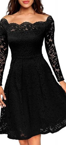 Hualong Black Off Shoulder Lace Fit And Flare Dress