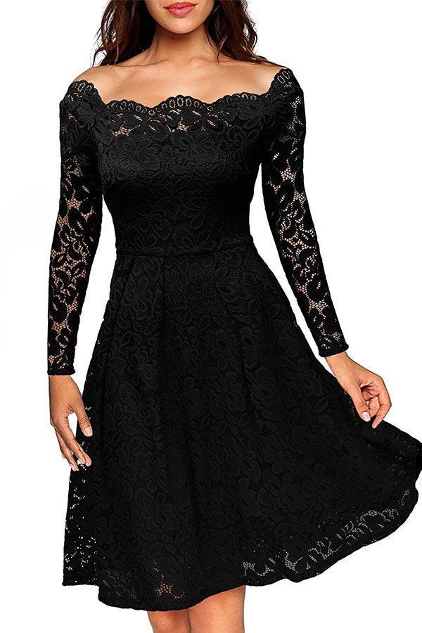 Hualong Black Off Shoulder Lace Fit And Flare Dress