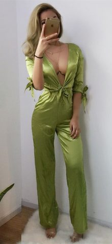 Hualong Deep Bowknot V Neck Green Jumpsuit