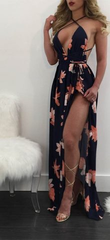 Hualong Deep V Strap Backless Maxi Dress With Slit