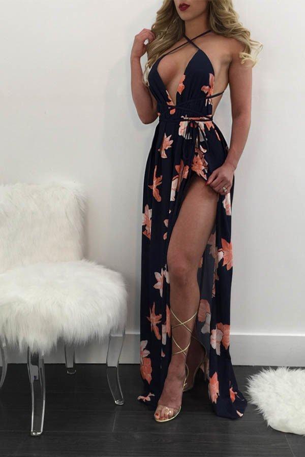 Hualong Deep V Strap Backless Maxi Dress With Slit