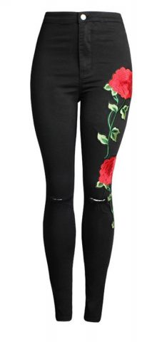Hualong Flower Embroidered Destroyed Skinny Jeans