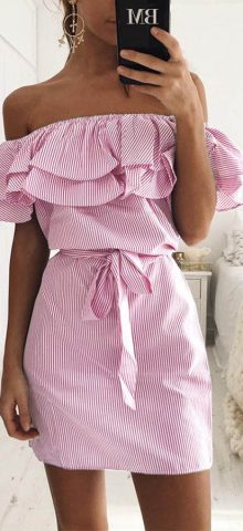 Hualong Off The Shoulder Striped Short Party Dresses