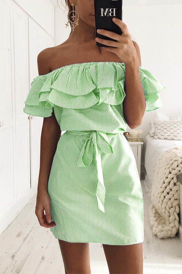 Hualong Off The Shoulder Striped Short Party Dresses