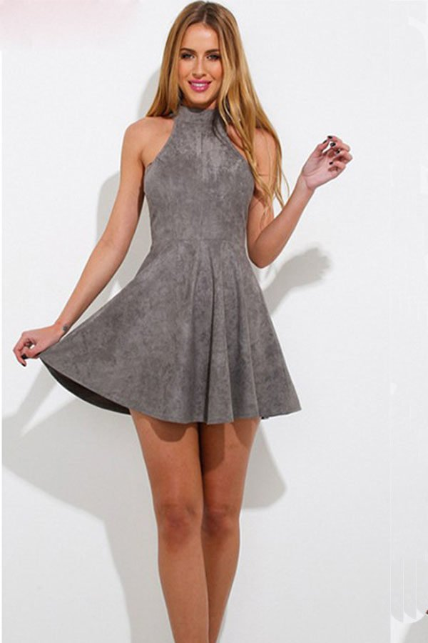 eb13f8f4a Hualong Sexy Gray Lace Up Sleeveless Skater Dress - Online Store for ...