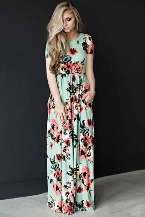 Hualong Short Sleeve Floral Print Bridesmaid Dresses