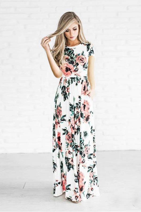 e023aad9de6 Hualong Short Sleeve Floral Print Bridesmaid Dresses - Online Store ...